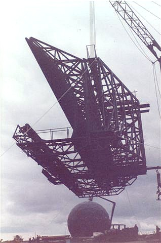 Reflector hanging from crane